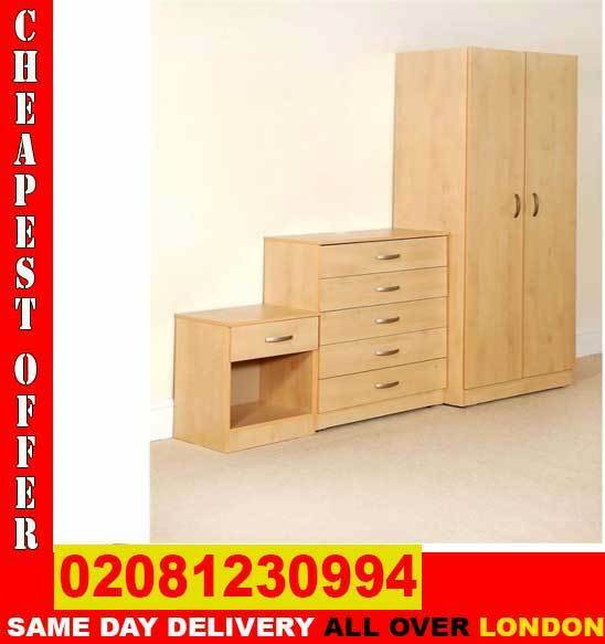 Amazing OfferBudget 2 Door assembeld Wardrobe and Chest of Drawersin East Finchley, LondonGumtree - BED ROOM SET FEATURES BRAND New PRE ASSEMBLED Two Door Wardrobe WITH HAGING RAIL TOP SHELVES MULTIPLE DRAWERS CHEST OF DRAWER 3 DRAWERS BED SIDE TABEL SAME DAY DELIVERY COLOR BEECH PRICE Wardrobe 60 CHEST OF DRAWERS 50 BED SIDE TABLE 30 COMPLETE SET...