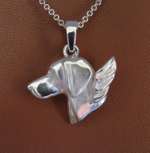 Large Sterling Silver Weimaraner Angel Pendant