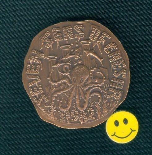 Krewe Of Caesar 1982 Octopus  Antique Bronze Mardi Gras Doubloon Token Coin
