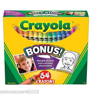 CRAYOLA CRAYONS 64 COUNT WITH SHARPENER SCHOOL CRAFT COLOR - BRAND NEW