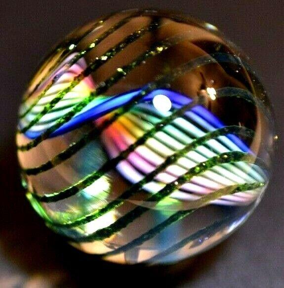 """FRITZ LAUENSTEIN GLASS MARBLE/1.125""""-RAINBOW TWIST with GREEN LUTZ STREAMERS-WOW"""