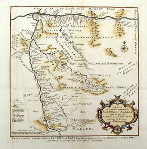 1757 map of western Mali with the Senegal and Niger Rivers