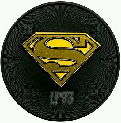 2016 1 Oz Silver SUPERMAN Maple Shield Coin 5$ Canada.
