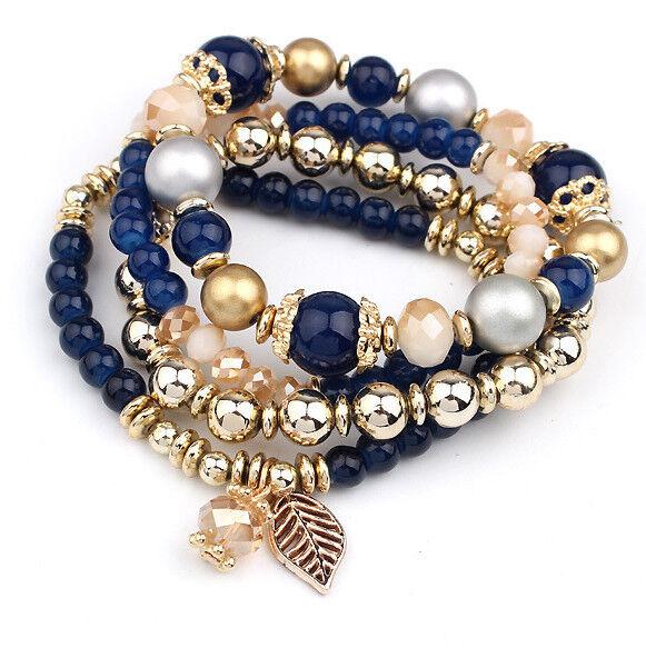 4 STk-set Damen Kugelarmband Armband Armreifen Bracelet Wickelarmband Farben