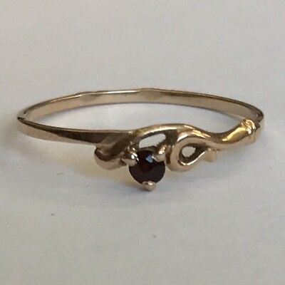 Vintage Solid 14ct Rose Gold Garnet Dress Ring Size M1/2 - N Poss Made In Poland