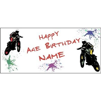 Extreme Sports Party Supplies MOTO CROSS MOTORCYCLE Personalized Custom Banner  - Motocross Party Supplies