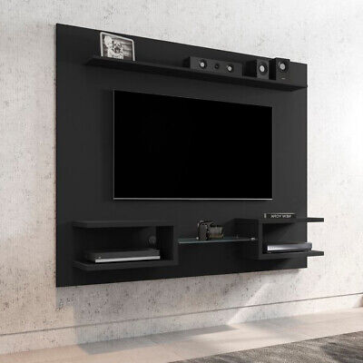 """TV Stand Black Wood 65"""" Floating Wall Mounted Media Console Entertainment Center"""