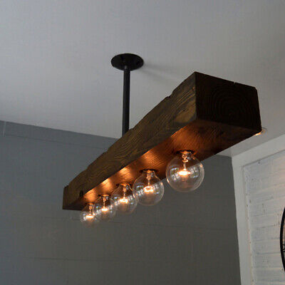 Farmhouse Recessed Wood Beam Pendant Lights Large Linear Island Ceiling Fixture Large Ceiling Fixture