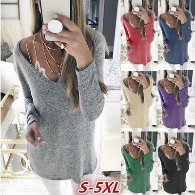 Women Deep V-neck Long Sleeve Sexy Sweater Pullover Jumper Knitwear Outwear lsm