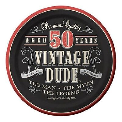 50th Birthday Party Supplies (Age 50) LEGEND VINTAGE DUDE DESSERT CAKE PLATES - Vintage Dude Party Supplies