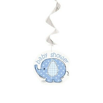 Blue Baby Boy Shower Party SWEET UMBRELLA ELEPHANT HANGING SWIRL DECORATIONS - Baby Elephant Party Decorations