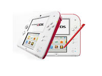 NINTENDO 2DS RED AND WHITE WITH CHARGER PLUS SUPER MARIO BOXED GAME IN NEW CONDITION
