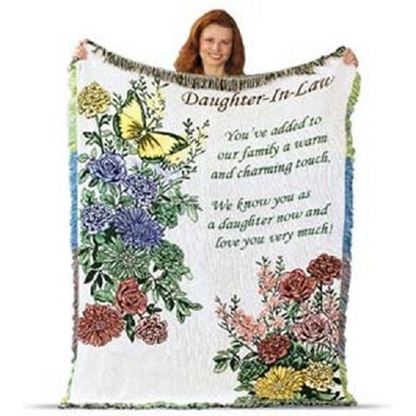 """Weaving Daughter In Law Afghan Tapestry %100 cotton MADE IN USA  60"""" x 46"""" Gift Afghans & Throw Blankets"""