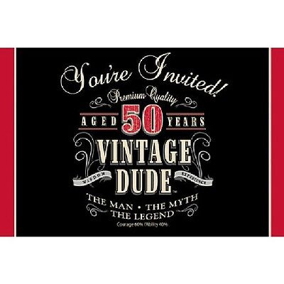 50th Birthday Party Supplies (Age 50) LEGEND VINTAGE DUDE INVITATION INVITES - Vintage Dude Party Supplies