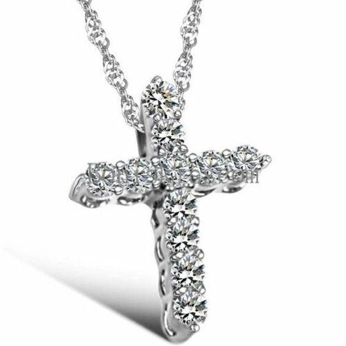 Rhinestone Paved Cross Pendant Necklace Girls Women's