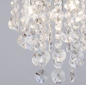 4 light crystal droplet ceiling light, chrome