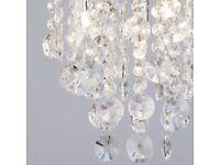 4 light crystal droplet ceiling light, chrome