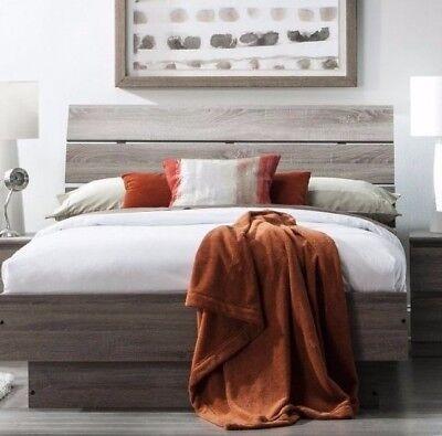 Truffle Brown Queen Slat Platform Bed Headboard Bedroom Home Living Furniture