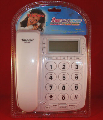 Trisonic White Wall Desk Corded Home Telephone Landline W...