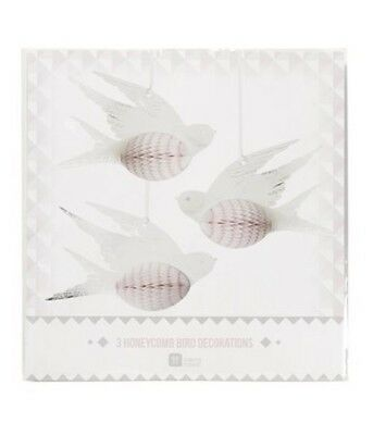 3 x Pretty birds paper hanging honeycomb White Birds Hanging Wedding Decorations](Honeycomb Wedding Decorations)