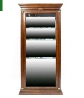 Mahogany Mirrored Curio Cabinet (NEOCLASSICAL LIGHTED MAHOGANY CURIO DISPLAY CABINET: 3 SHELVES, MIRRORED BACKING )