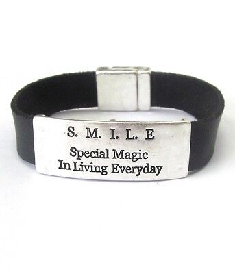 - Inspirational message and leather band magnetic bracelet - S.M.I.L.E.