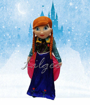 Anna Frozen Mascot Costume Adult Halloween Birthday Movie Party Theme Princess