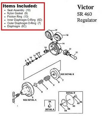 Victor Sr460a Acetylene Regulator Rebuildrepair Parts Kit W Diaphragm