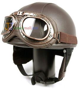 G-Neu-Leder-Motorrad-Motor-Helm-Brille-Braun