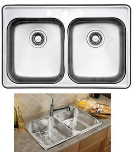 NEW WESSAN DROP IN 2 BOWL STAINLESS STEEL SINK