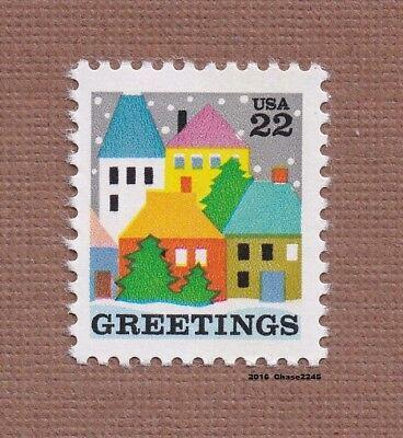 Scott #2245 Christmas Winter Village Scene 22c - 1986 MNH Single   (Winter Christmas Scene)