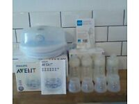 Philips avent microwave steriliser with mam bottles set