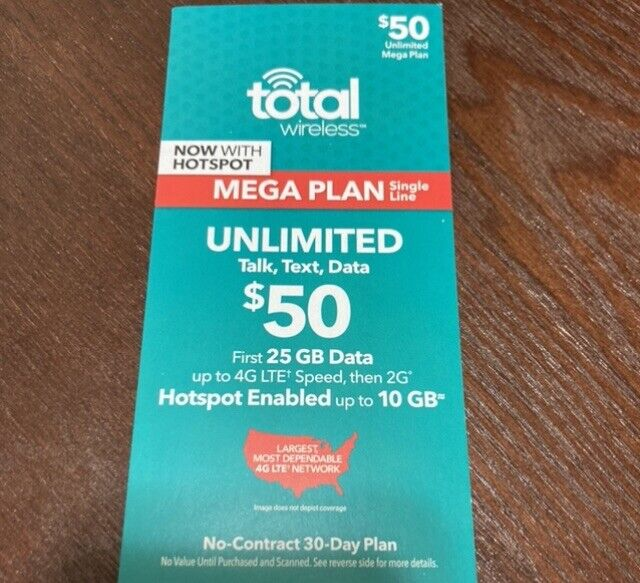TOTAL WIRELESS $50 30-day Mega Plan 25gb Data, Unlimited Talk And Text FREE SHIP