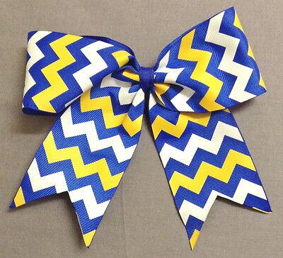 Royal Blue, Gold, and White Chevron Cheer/SoftballVolleyball Bow  ()