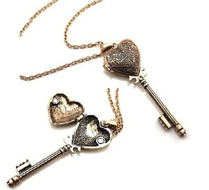N628-BETSEY-JOHNSON-Exquisite-Opening-Bronze-Heart-Key-Pendant-Necklace-US