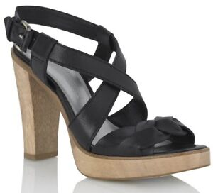 French Connection Black Leather Sandals With Wooden Heel 38