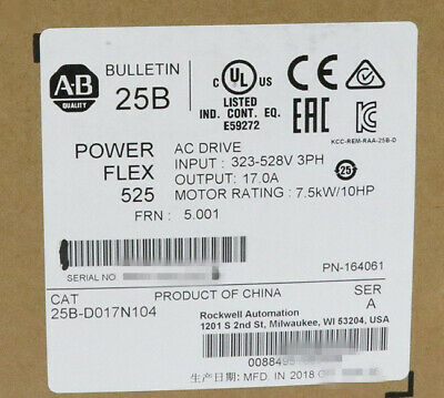 New Sealed Allen-bradley Powerflex 525 7.5kw 10hp Ac Drive 25b-d017n104 Us Ship