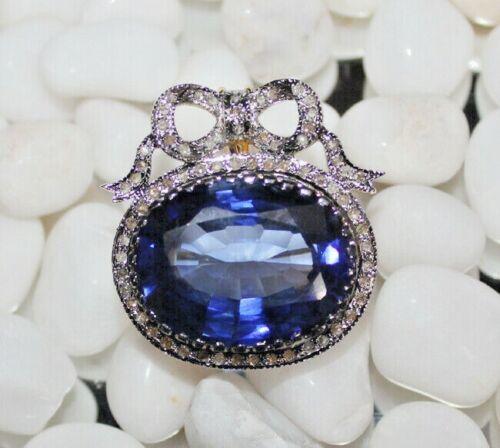 2.70ct ROSE CUT DIAMOND SAPPHIRE ANTIQUE VICTORIAN LOOK 925 SILVER PENDANT