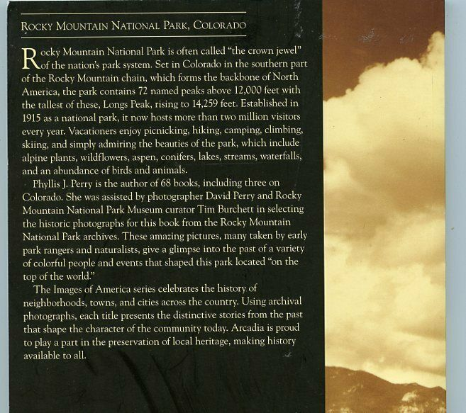 Colorado History - Images Of America - Rocky Mountain National Park, By Perry  - $15.00