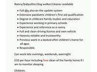 Nanny cleaner dog walker babysitter available