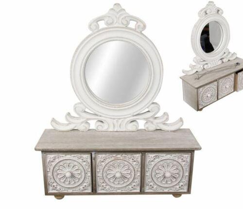 Filigree Mirror Dresser With 3 Drawers 40cm H X 32cm W Wooden