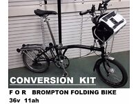 Brompton Folding Bike Electric Conversion KIT 36v 11ah Li-ion Battery PAS and Press and GO