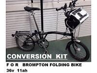 Brompton Folding Bike Electric Conversion KIT 36v 11ah Li-ion Battery PAS and Press and GO