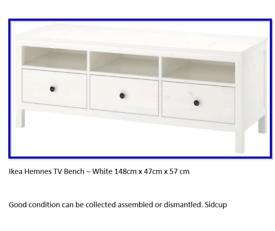 IKEA 3 drawer TV stand White