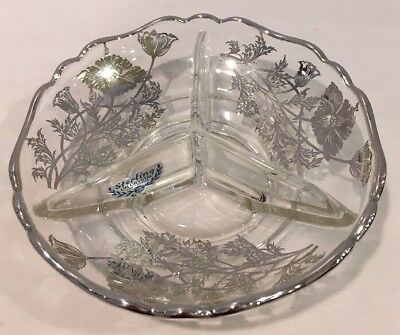 Vintage Sterling On Crystal 3 Section Dish By Silver City Glass Company w Label - Party City Sterling