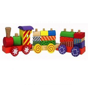 COLOURED WOODEN PULL ALONG TRAIN STACKING BLOCKS TRAILER TODDLER TOY SET 782598