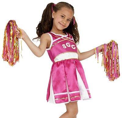 Kinder Mädchen Kostüm Cheerleader Kostüm & Pom Poms von - Rosa Cheerleader Kind Kostüm