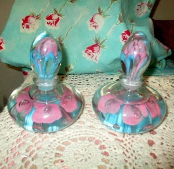 PAIR St. Clair Art Glass Trumpet Flower Paperweight Perfume Bottles