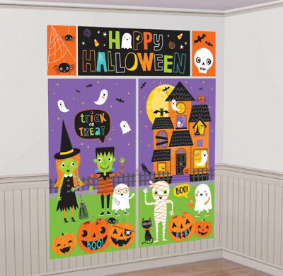 FRIENDLY HAPPY HALLOWEEN KiDs Scene Setter Party Wall Decorations Trick or Treat - Kids Halloween Party Decorations