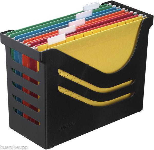 JALEMA Office-Box Re-Solution Hängemappen-Box schwarz mit 5 Mappen Hänge-Box NEU